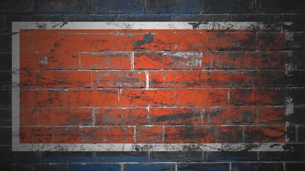 Кирпичная стена окрашена в синий и оранжевый фоновой текстуры Premium Фотографии