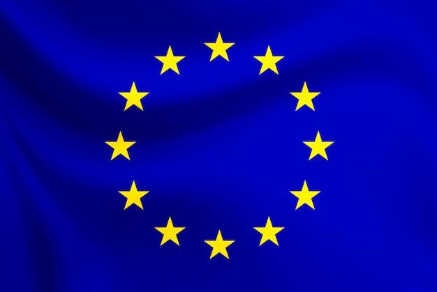 欧州連合の旗の揺れ Premium写真