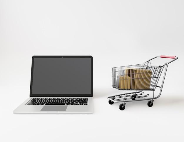 ショッピングカート内の紙箱 Premium写真