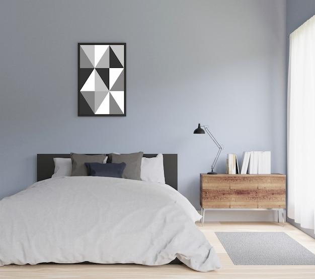Современная спальня с рамой для копирования пространства и макета Premium Фотографии