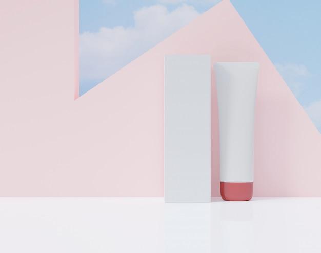 白い色の箱と管。化粧品広告のポスター。 Premium写真