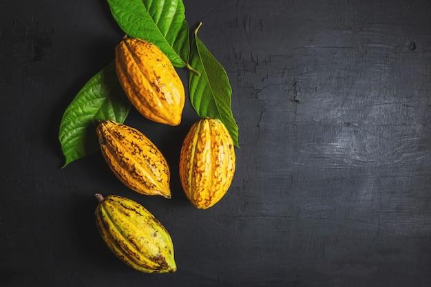 Свежие фрукты какао на черном фоне Premium Фотографии