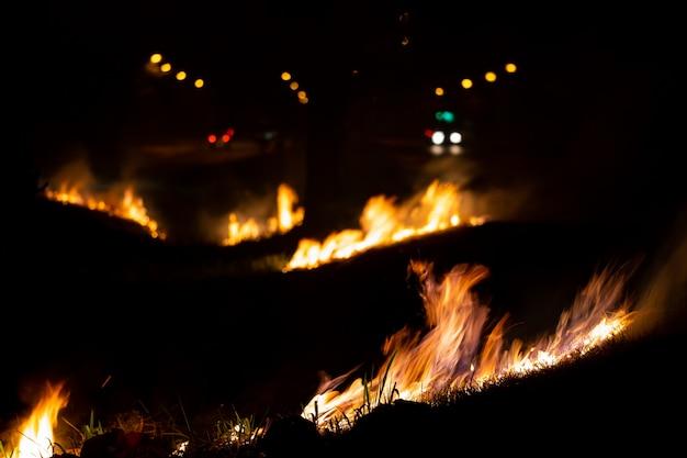 道路の荒れた野原、夜の燃える炎 Premium写真
