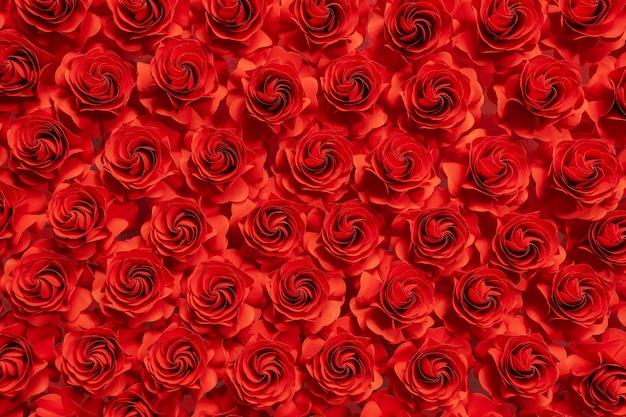 紙の花、紙、結婚式の装飾、抽象的な花の背景からカット赤いバラ Premium写真