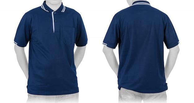 白空白の青いポロシャツ(前面、背面) Premium写真