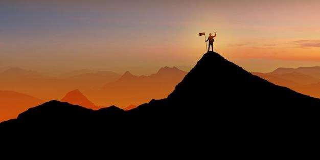 フラグ、勝者、成功、リーダーシップの概念と日没の夕暮れ背景に山の上に立っている実業家のシルエット Premium写真