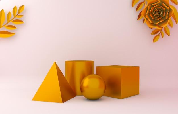 ゴールドジオメトリ、ゴールドローズと葉の背景 Premium写真