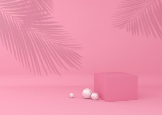 製品のプレゼンテーション、熱帯の木の影のディスプレイキューブ Premium写真
