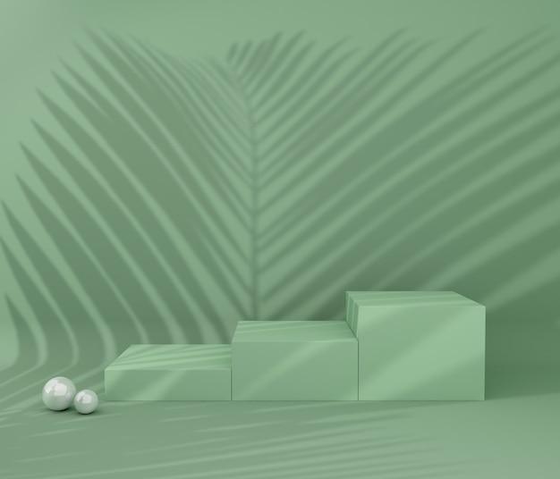 製品プレゼンテーション用の表彰台、熱帯の木の影 Premium写真