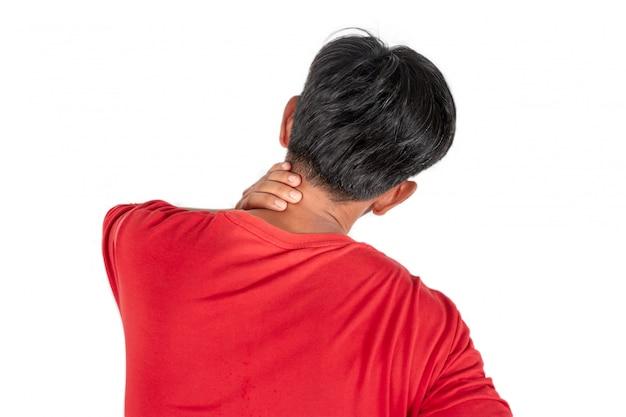 仕事や白で隔離睡眠から首の痛み Premium写真