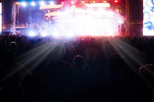 音楽コンサートで楽しんでいる人々のグループ Premium写真