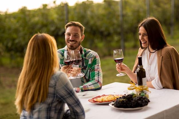 ブドウ園のテーブルで若い人たち Premium写真