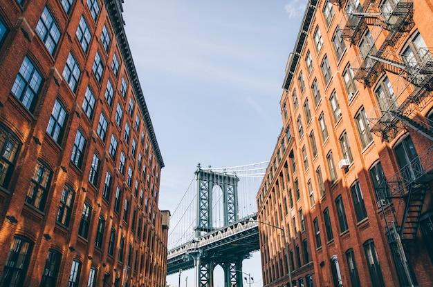 レンガの壁の建物とマンハッタン橋、ブルックリンニューヨーク市、アメリカ合衆国 Premium写真