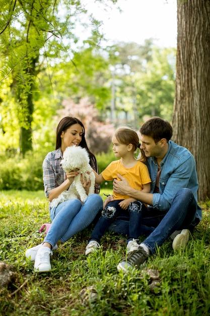 美しい幸せな家族は屋外の木の下でマルチーズ犬を楽しんでいます。 Premium写真