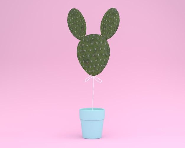 創造的なアイデアレイアウトパステルピンクの背景に花のポットを持つサボテンウサギ。最小のアイデア Premium写真