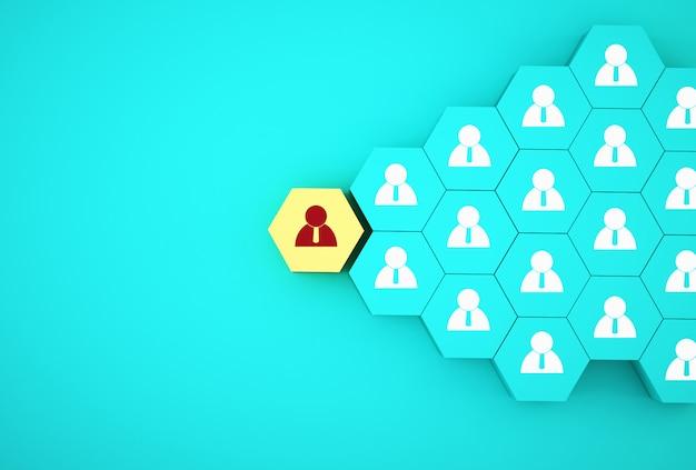人的資源管理と採用ビジネス従業員概念の概念の創造的なアイデア。黄色の六角形を配置 Premium写真