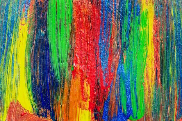 クリエイティブアートの背景手描きアクリル絵。キャンバス上のブラシストロークカラフルなテクスチャアクリル塗料のクローズアップショット。現代コンテンポラリーアート。デザイン要素の抽象的な構成。 Premium写真