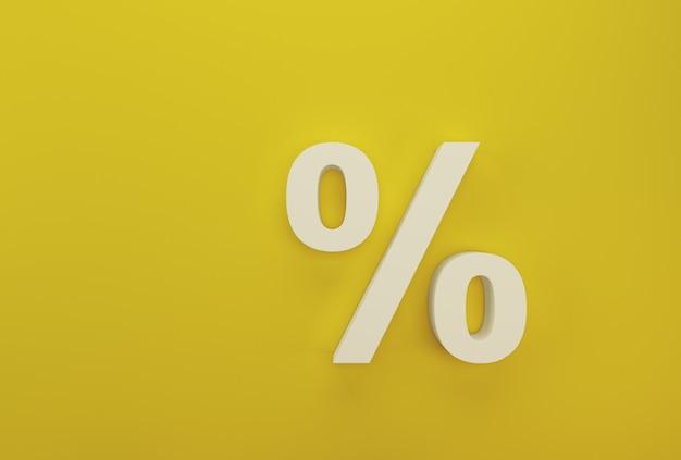 黄色のパーセント記号シンボルアイコン白 Premium写真