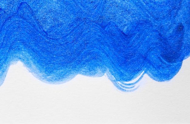 抽象的な波青手描きアクリル絵の背景 Premium写真