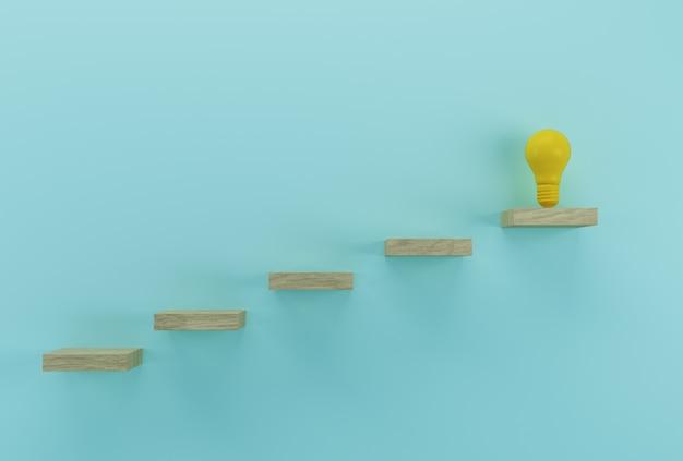 創造的なアイデアと革新。木材の背景に優れたアイデアを明らかに電球 Premium写真