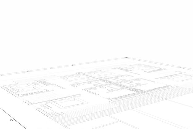 白い紙の上の建築プロジェクトの部分計画 Premium写真