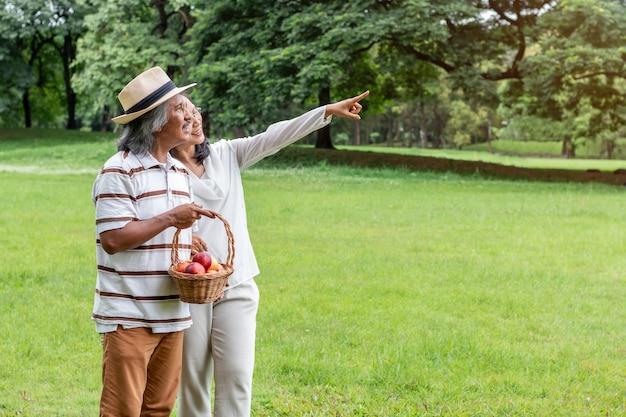 Азиатские старшие пары с счастьем образа жизни корзины плодоовощ в парке. Premium Фотографии