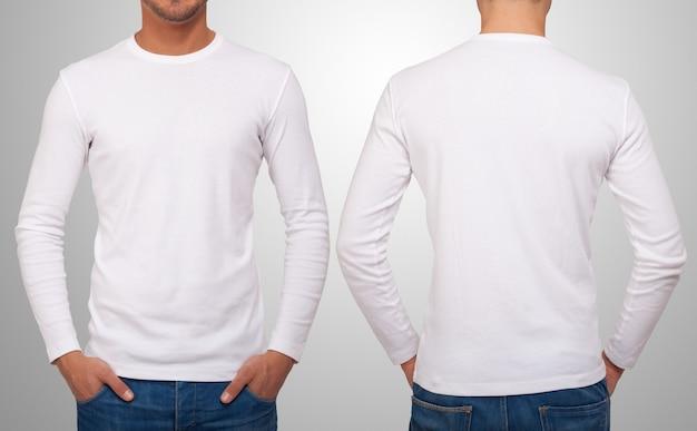 Человек в белой футболке с длинными рукавами. Premium Фотографии