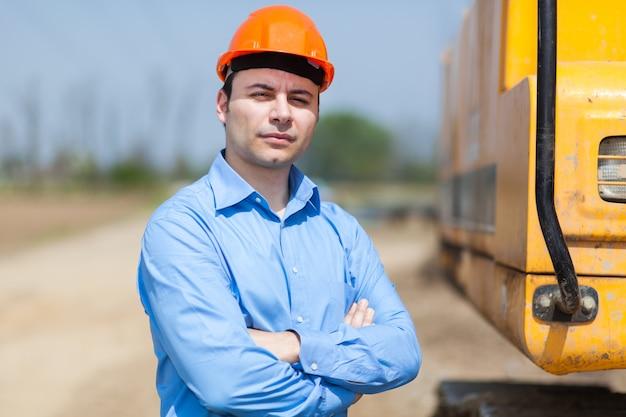 建設現場の労働者の肖像 Premium写真