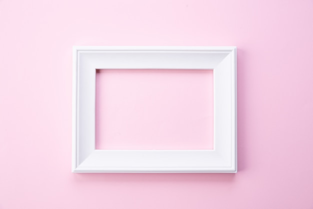 Концепция день счастливой матери. вид сверху белая рамка на розовом фоне Premium Фотографии