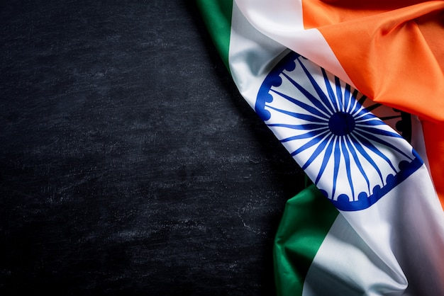 黒板にインドの国旗 Premium写真