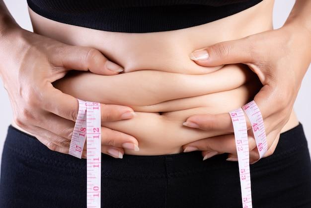 測定テープと過剰な腹脂肪を持つ太った女性の手。 Premium写真