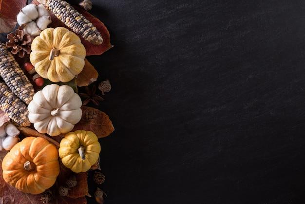 秋のカエデの葉とカボチャ Premium写真