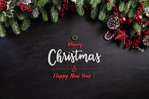 黒の木製の背景にクリスマス装飾背景の概念。 Premium写真