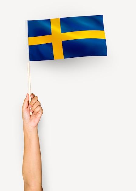 Человек размахивает флагом королевства швеция Бесплатные Фотографии