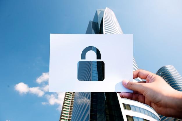 ネットワークセキュリティシステム穴あき紙パドロック 無料写真