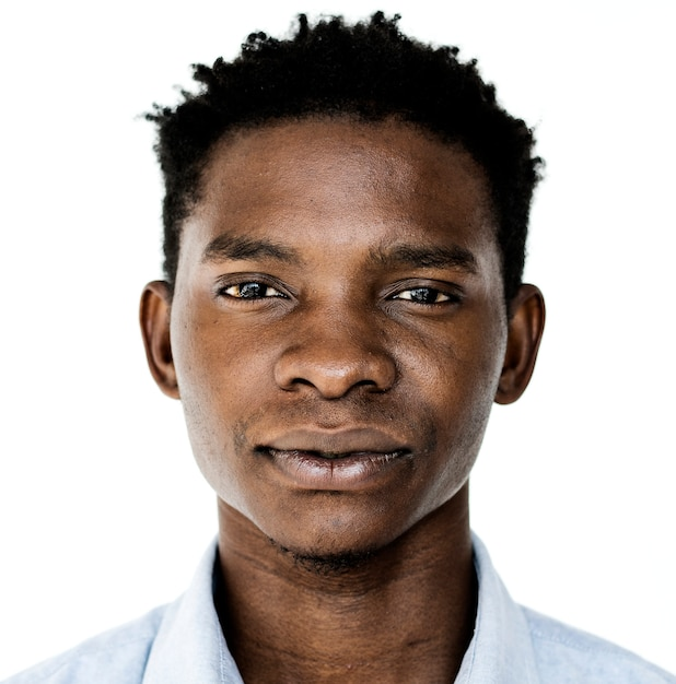 ワールドフェイス、ウガンダの男、白い背景 無料写真