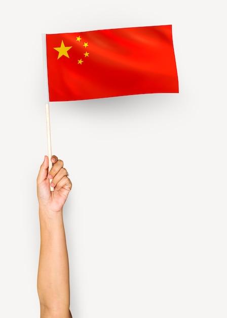 中華人民共和国の旗を振る人 無料写真