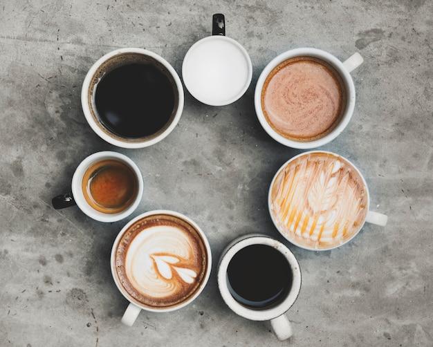 様々なコーヒーの航空写真 無料写真