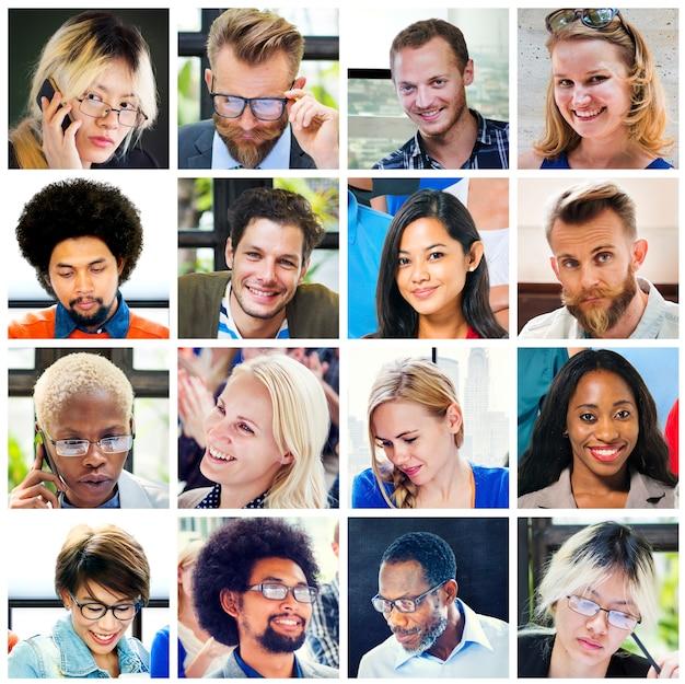 コラージュの多様な顔グループの人々のコンセプト Premium写真