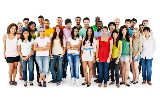 一緒に立っている様々な人々のグループは、白 Premium写真