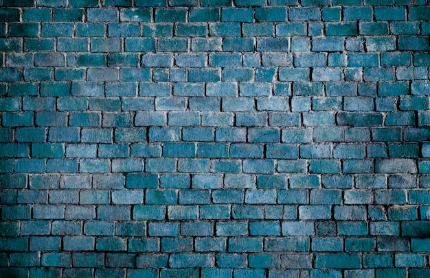 青い質感のレンガの壁の背景 無料写真