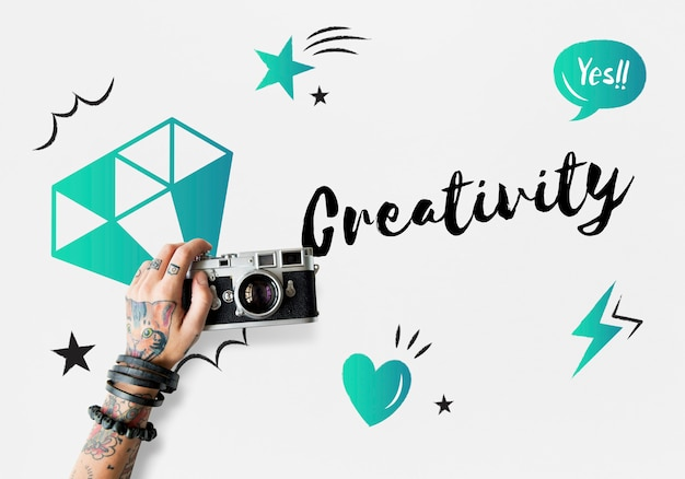新鮮なアイデアデザイン創造のコンセプト 無料写真