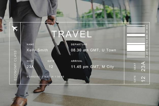 旅行者の背景にあるフライト詳細のバナー 無料写真