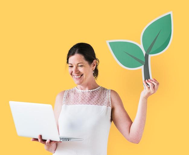 女性、植物、アイコン、保有物、ラップトップ 無料写真