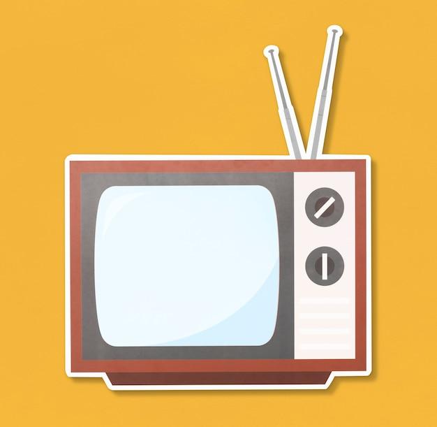 レトロテレビイラストアイコン 無料写真