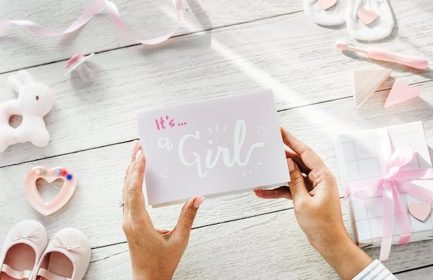 ピンクのベビーシャワー Premium写真