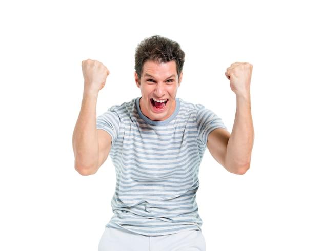 勝利を祝って叫んでいるカジュアルな男 無料写真