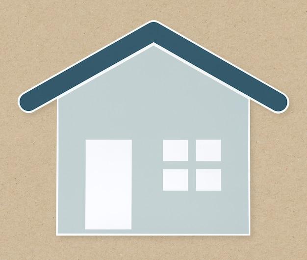 青い家のアイコンの分離 無料写真