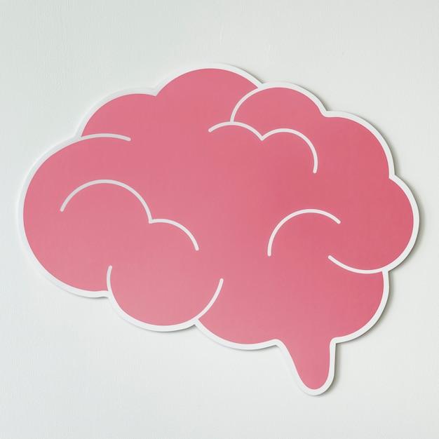 ピンクの脳の創造的なアイデアのアイコン 無料写真