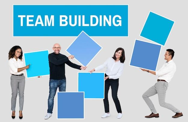 チームワークとチーム構築による成功 無料写真